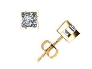 Real-0-40Ct-Princess-Cut-Diamond-Basket-Stud-Earrings-14k-Gold-V-Prong-Set-I-SI2