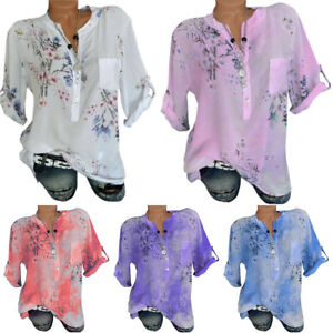 Plus-Size-Womens-Boho-Floral-V-Neck-Short-Sleeve-Blouse-Summer-Loose-T-Shirt-Top