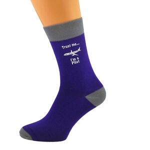 Gehemmt Verlegen Purple & Ash Grey Unisex Socks Trust Me I'm A Pilot Uk Size 5-12 X6n639 Verpackung Der Nominierten Marke Selbstbewusst Befangen Unsicher