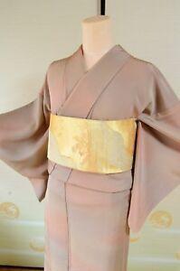 Kimono-Silk-Komon-Women-amp-Fukuro-Obi-SET-Japanese-vintage-Geisha-382