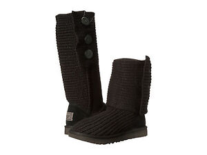 Women-UGG-Classic-Cardy-Boot-1016555-Black-Wool-Knit-100-Authentic-Brand-New