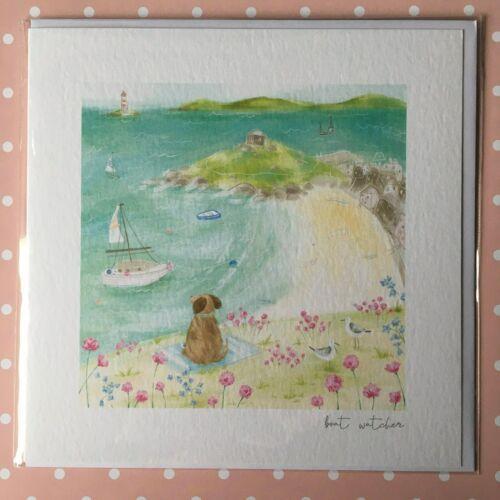 NEW Dog Boat Watcher Art Card Birthday Blank Beach Boats Cornwall Green matters