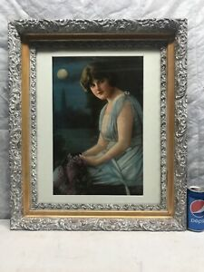 Vtg-Antique-ORNATE-Frame-Lithograph-1920-s-Woman-Full-Moon-Lilac-Flowers