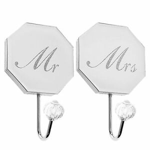 Mirror-Glass-and-Glitter-Wall-Hooks-Set-of-2-Mr-and-Mrs