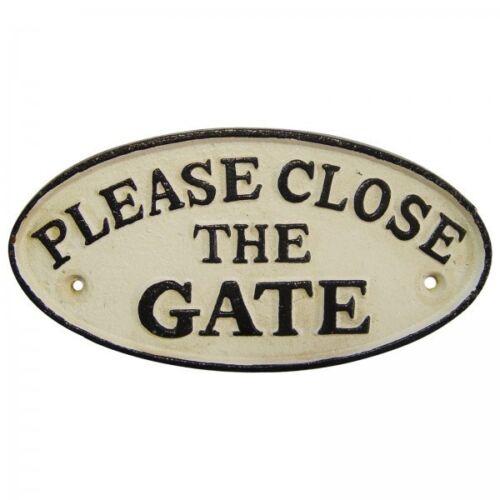 """Tor Schild Eisen /""""PLEASE CLOSE THE GATE/"""" Hinweisschild Tür Antikstil Haus Garten"""