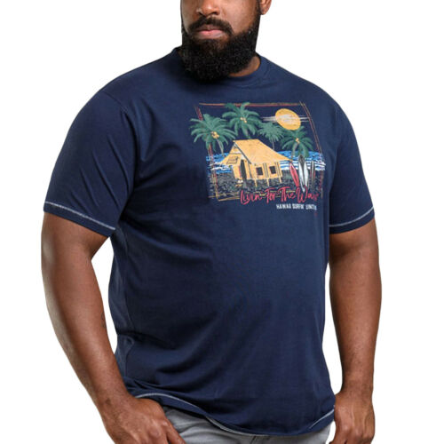 Navy Duke D555 Mens Collins Big Tall King Size Crew Neck Printed T-Shirt