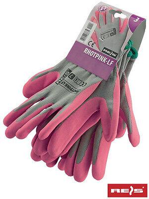 6-7 8-9 ROSA 3 Paar Gartenhandschuhe Handschuhe Damen Größe
