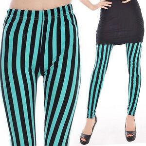 669571ab4241d Image is loading Fashion-Women-Horizontal-Striped-Black-Green-Leggings-Slim-