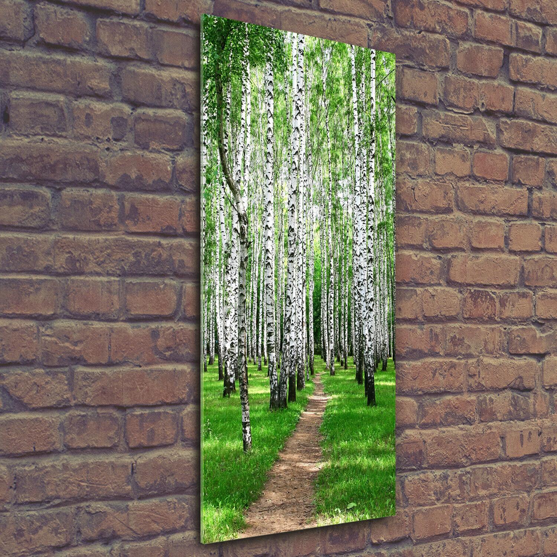 Wand-Bild Kunstdruck aus Acryl-Glas Hochformat 50x125 Birkenwald