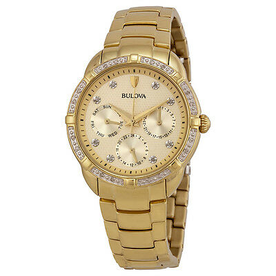 Bulova Diamond Multi-Function Champagne Dial Gold-tone Ladies Watch 98R171
