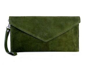 Olive-Green-Wedding-Clutch-Bag-Evening-Bag-Oversize-Envelope-Suede-Made-in-Italy