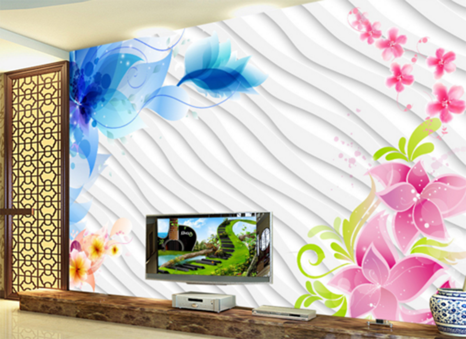 3D Farbe Wave Flowers 7 Paper Wall Print Wall Decal Wall Deco Indoor Murals