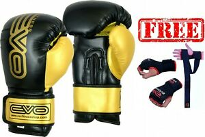 DEAL-EVO-MAYA-Leather-Boxing-Gloves-FREE-MMA-GEL-Gloves-Wrist-Support-Wraps-UFC