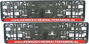 2 Stück Kennzeichenhalter Leiste ROT mit WUNSCHTEXT Nummernschildhalter Satz NEU