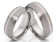 2 Titan/Silber Eheringe Trauringe Diamant & Lasergravur