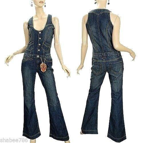 NEW Vanilla Star Womens Denim Jumpsuit 70's Vintage Over all Jeans XS X Small
