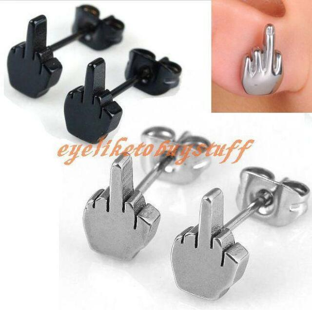 2/10/50/100pc Punk Stainless Steel Men's Middle Finger Earrings Ear Stud Rock