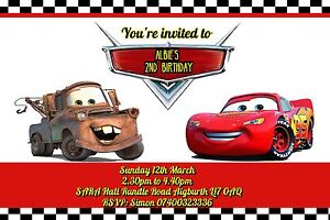 Image Is Loading Birthday Invitations Disney Cars Lightning McQueen 10 20