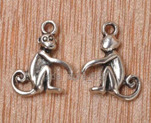 40pcs Tibetan Silver Charms Monkey Animal 3D Pendants E3311