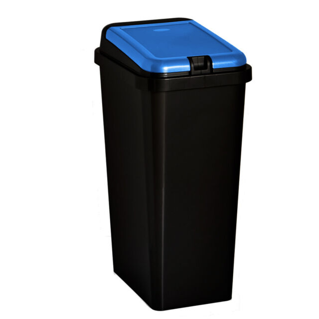 Touch Bin 45 Liter.Plastic Touch Top Bin 45 Liter Blue Rectangular Kitchen Dust Waste