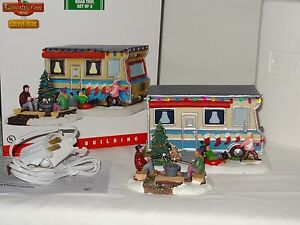 "Lemax Coventry Cove Camper RV Trailer ""Christmas Road Trip"" set of 2 Lighted"