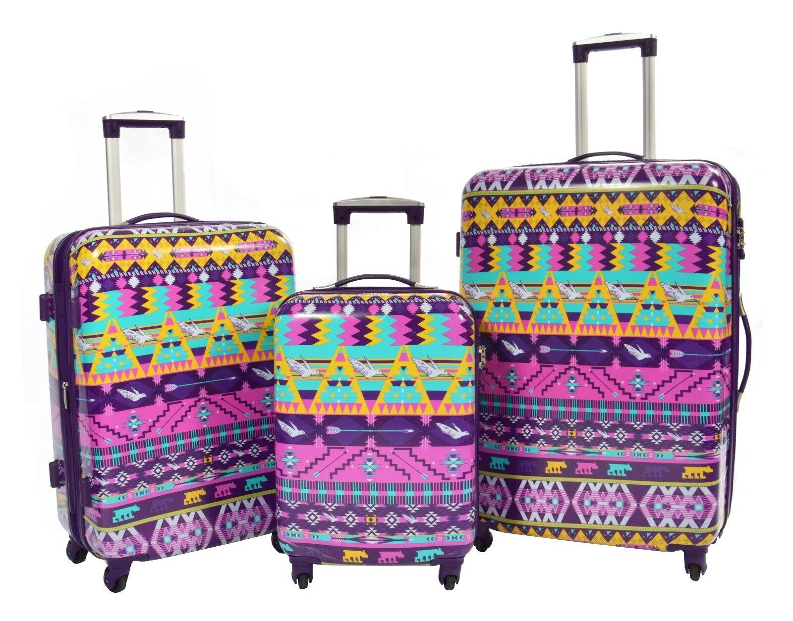 Aztec Valigia Set Multicolore 4 RUOTE LUCCHETTO TSA 3 Taglie Cabina M L Borsa