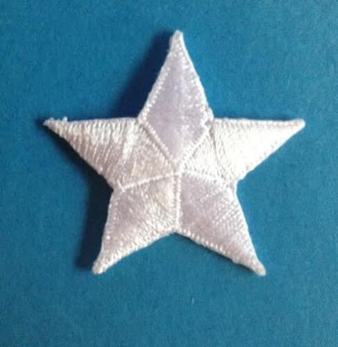 24 Lot White Nautical Stars Patriotic Iron On Hat Flag Craft Patches Crests 742T