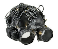 Silver Steampunk Helmet Style Adult Half Mask with Goggles and LED Lights-up