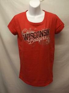 Neuf-Wisconsin-Badgers-Femmes-Taille-M-Rouge-T-Shirt
