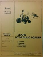 Sears Kwik-way Loader Garden Tractor Owner,assembly & Parts Manual 22p Nice Info