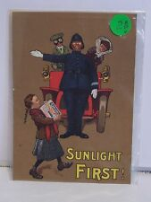 Sunlight Soap Advertising Two Sided Card Vintage 1910 Sunlight First