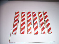 6-Christmas Red & White Candy Cane stripe Glitter Clothespins/Parties/Holidays