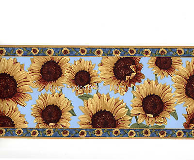 Sunflowers Flower Floral Blue Yellow Country Wall Paper Border Ebay