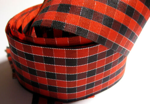 RED /& BLACK Check with SILVER Thread Double Face Ribbon 2 metres of 40mm wide