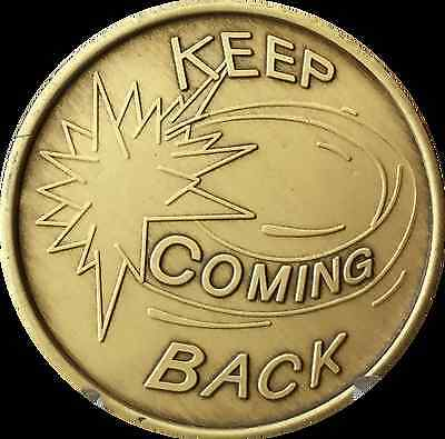 Keep Coming Back Swoosh Serenity Prayer Bronze Recovery Medallion Coin AA NA