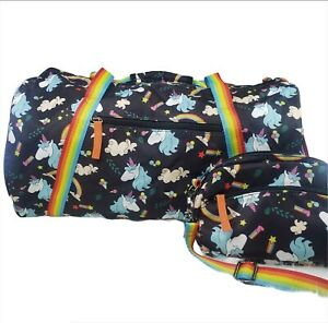 Kemy-039-s-Unicorn-Rainbow-Duffle-Carry-On-Tote-Bag-Black-Rainbow-Zippered-NWT-Girls