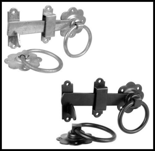 "6/"" 150mm Ring Gate Latch Handle Garden Gate Shed Door Black or Zinc c//w Fixings"