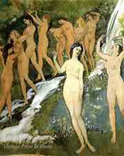 Naked Women River Falls - Ten Nudes by a Waterfall Arthur B Davis Art Print 305