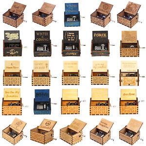 Holz-Hand-gekurbelt-Spieluhr-Weihnachten-Party-Geschenk-Haushalt-Dekor-Verzi