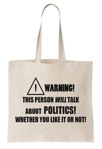 Politics Tote Bag Shopper Political Politician Subject Statement Birthday Gift