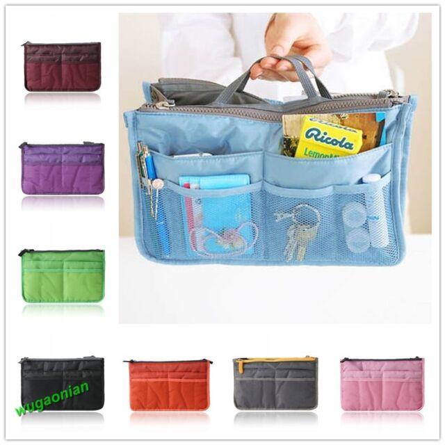 Bag in Bag Insert Multi-function Handbag Makeup Travel Purse Organizer Pockets