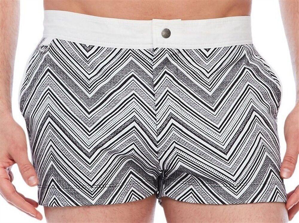 MR TURK 'Bartlett' Zig-Zag Jacquard Knit Swim   Bathing Trunks Shorts 32  NEW