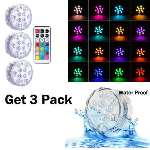 3PK Wireless Remote Control Cabinet Cupboard Lights Wall Night LED Lights Puck