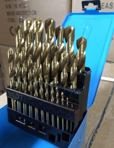 Drill Set HSS Metric Titanium Bit Metal Kit 25pce 1-13mm Jobber Twist Drills AU