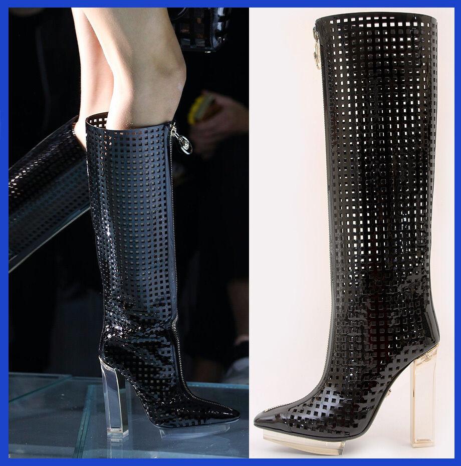 New VERSACE black patent leather plexi platform cage boots 36 - 6