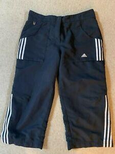 Adidas Climalite Femmes Sport Fitness Capri Shorts En Bleu/blanc-taille 10-afficher Le Titre D'origine