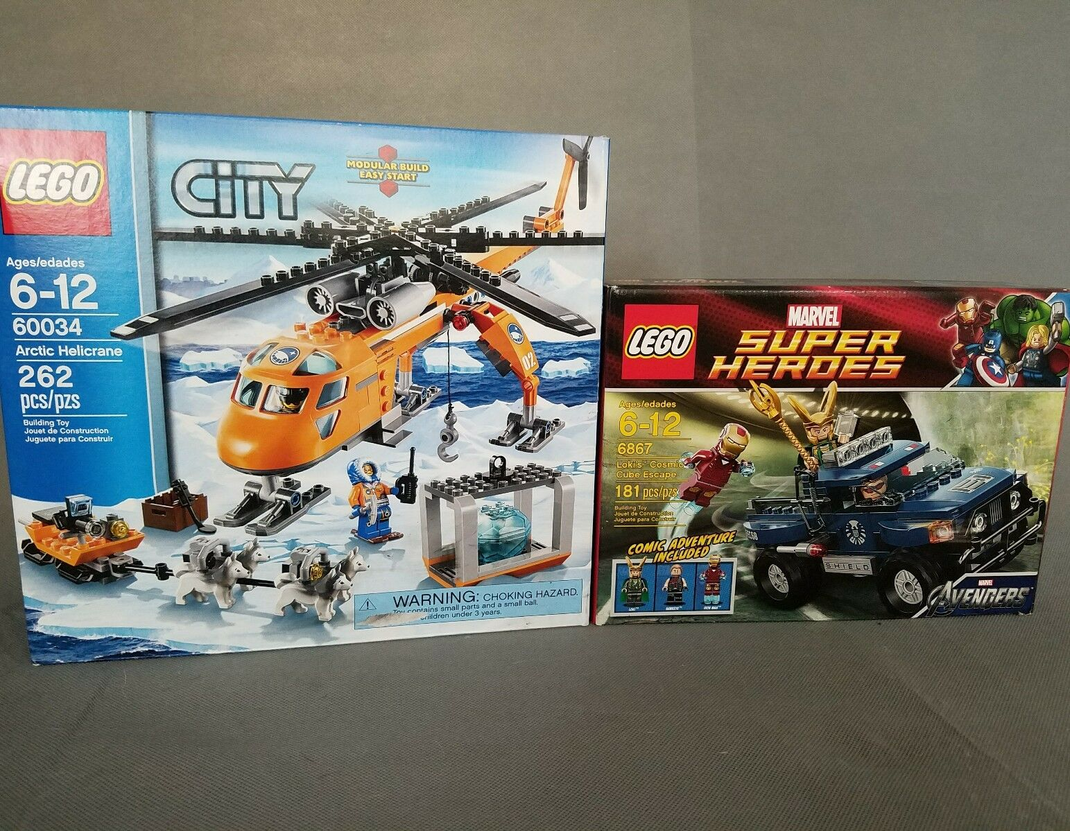 Lot lego Sets 60034 City Arctic Helicrane et 6867 Marvel Super Heroes