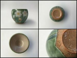 Japanese-Pottery-Sencha-Tea-Cup-Yunomi-Vintage-Signed-Kyo-Ware-Hand-Paint-Z175