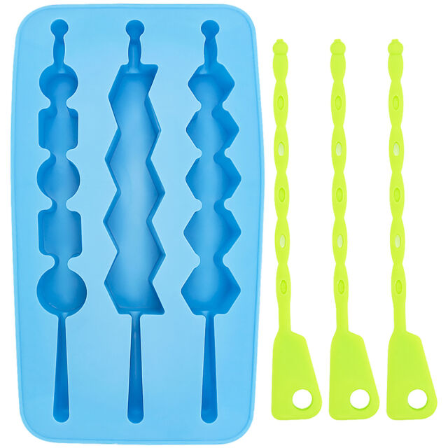Novelty Blue Kabob Ice Cube Tray with Skewer Stirring Sticks Funny Grilling Gift