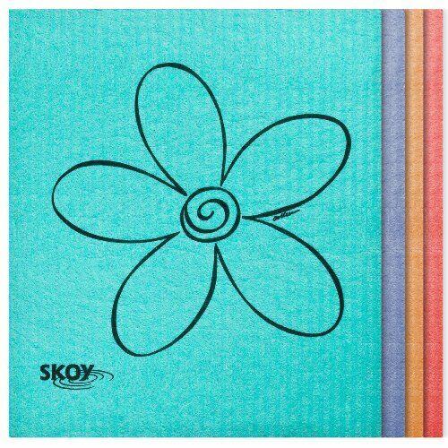 4 Pack Assorted Colors Skoy Cloth Eco-Friendly Swedish Dishcloth